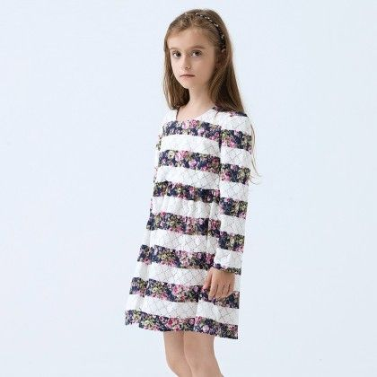 Beautiful Floral Striped Long Sleeves Dress - White - Baby Kids