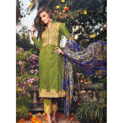 Classic Green Embroidered Unstitched Dress Material - Mauve Collection