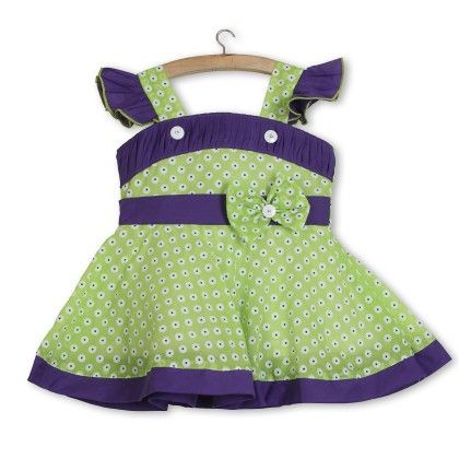Pretty In Bow Dress - Green - BownBee