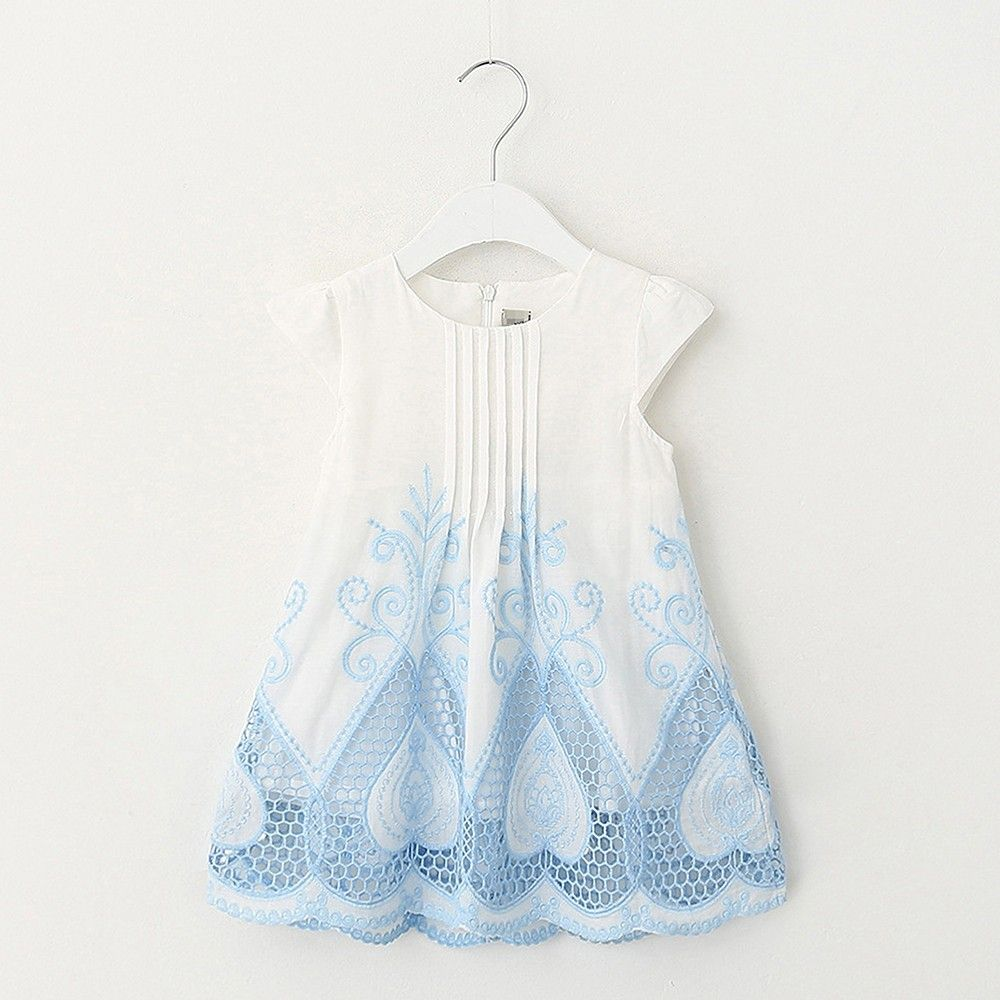 White And Blue Print Dress - Lil Mantra