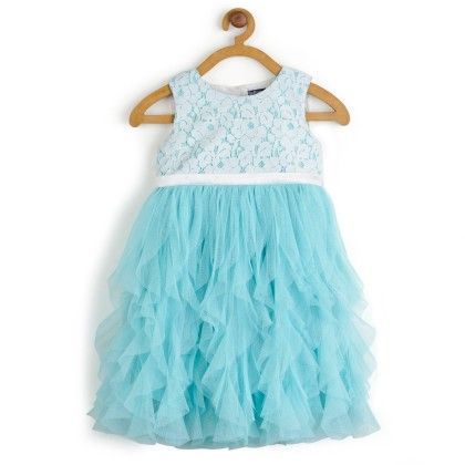 Water Fall Dress With White Lace Princess-dress - Toy Balloon Kids