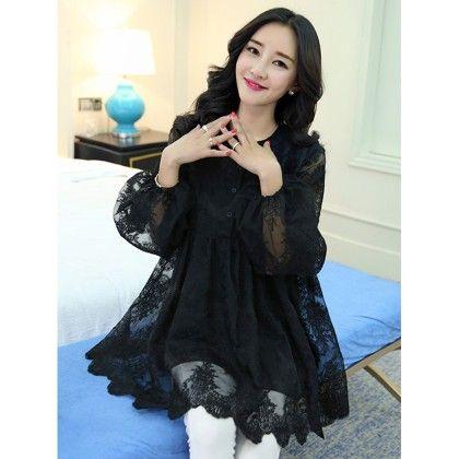 Black Lace Work Plus Size Dress - Mauve Collection