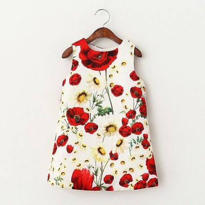 Red Floral Print Dress - Lil Mantra