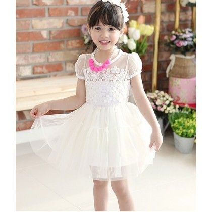 Beautiful White Tutu Dress With Floral Lace Bodice - DCGN