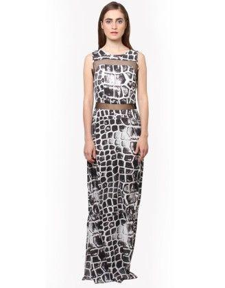Printed Mesh Insert Maxi Dress - XNY
