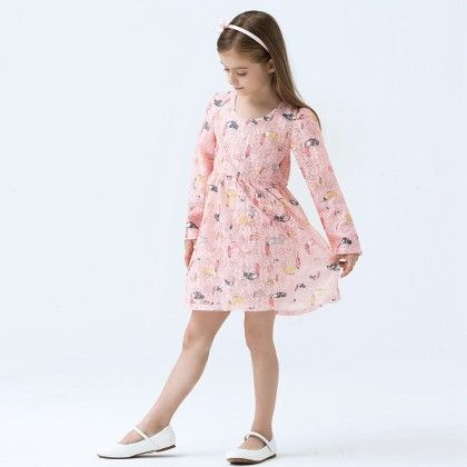 Beautiful Bird Print Long Sleeves Dress - Pink - Baby Kids
