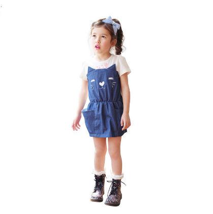 Cute Cat Print Dress With Pockets - Dark Blue - Boat