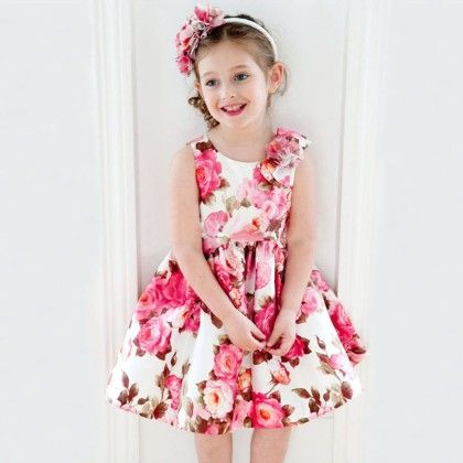 Peach Giirl Pretty Flower Girl Summer Dress - Pink
