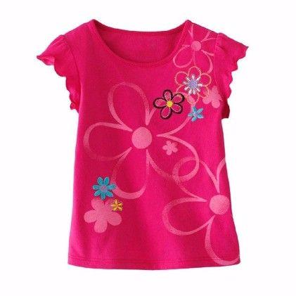 Pink Floral Print Short Sleeves Tshirt - Lil Mantra