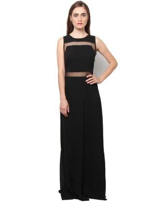 Xny Black Mesh Insert Maxi Dress