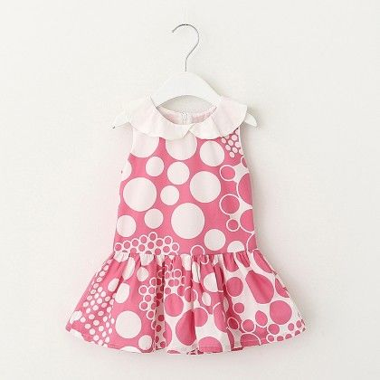 White And Pink Dot Print Dress - Lil Mantra