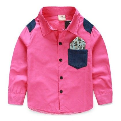 Dark Pink Shirt With Denim Patch For Boy's - Mauve Collection