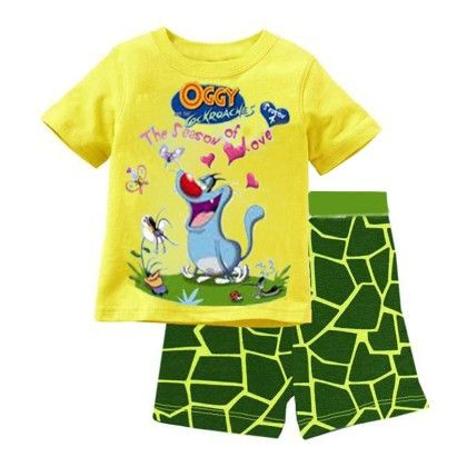 Yellow Oggy Print T-shirt & Short Set - Lil Mantra