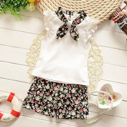 Black Top With Floral Short Set - Lil Mantra