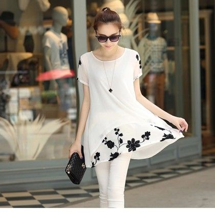 Women Blouse Summer Style Long Shirt Chiffon - STUPA FASHION