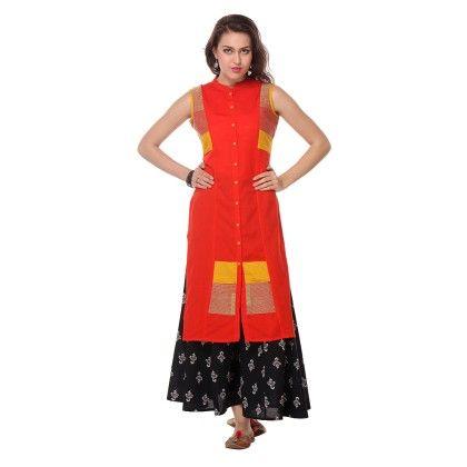 Red Printed Stitched Kurti - Riti Riwaz