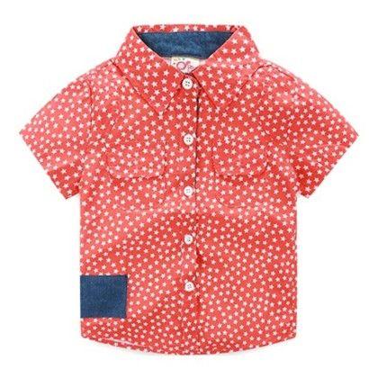 Start Print Boy's Smart Red Shirt - Mauve Collection