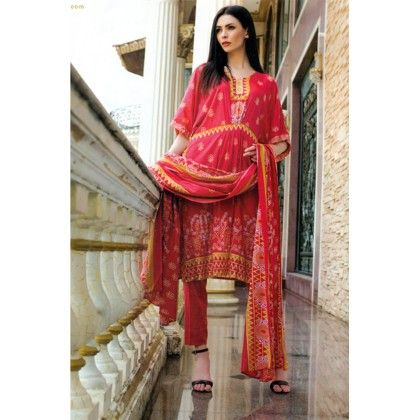 Red Printed Semistitched Suit - Mauve Collection