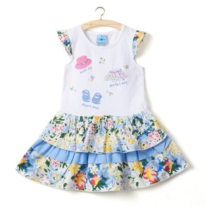 Blue Floral Print Cap Sleeves Dress - Little Princess