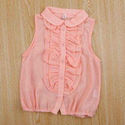 Beautiful Sleeveless Ruffled Shirt - Pink - Pink Ideal
