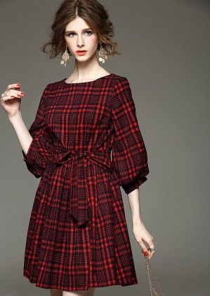Red Checks On Black Spring Summer Dress - Mauve Collection