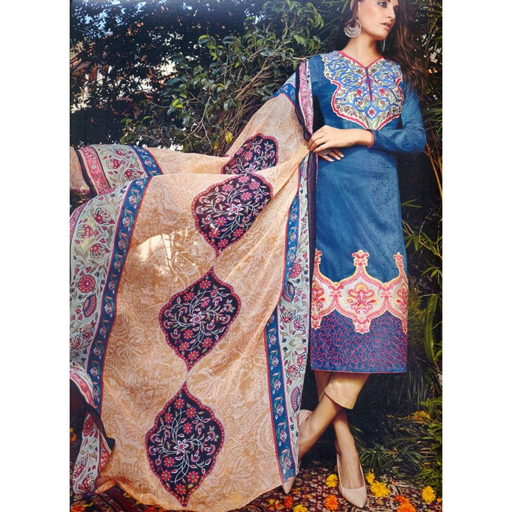 Classic Embroidered Dress Material - Mauve Collection