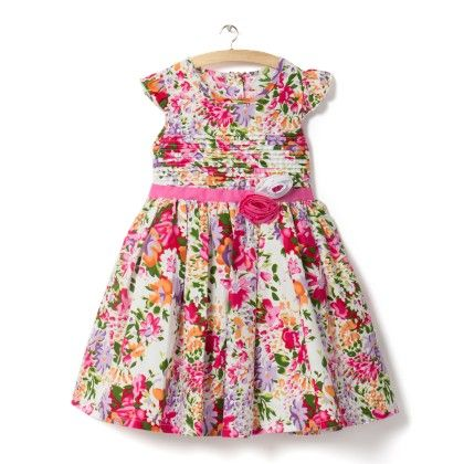 Allover Pink Floral Print Dress - Little Princess