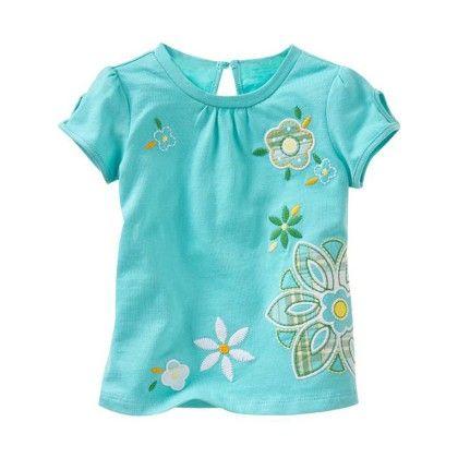 Blue Floral Print Short Sleeves Tshirt - Lil Mantra