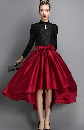 Vintage Style Ball Pleated Maroon Skirt - Mauve Collection