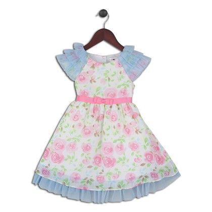 Light Pink And Blue Floral Dress - Joe Ella