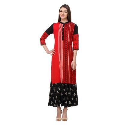 Red & Black Printed Stitched Kurti With Plazzo - Riti Riwaz