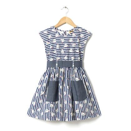 Cat Print Blue And White Dress With Belt At Waist - Hugs & Tugs