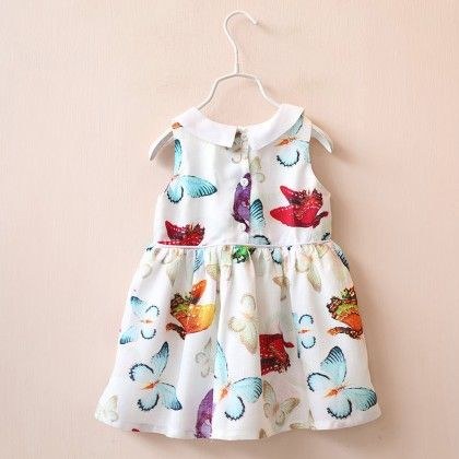 White Butterfly Print Dress - Lil Mantra