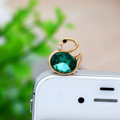 Swan Mobile Dust Plug Green - Flaunt Chic