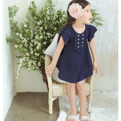Cute Ruffled Sleeved Dress - Navy - DCGN