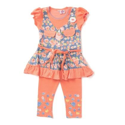 Peach Floral Print T-shirt & Capri Set - Eteenz
