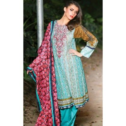 Sky Blue  Embroidered Semistiched Suit - Mauve Collection