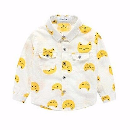 Yellow All Over Cat Printed Shirt - Lil Mantra