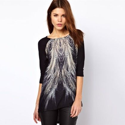 Designer Printed Black Top - Dell's World