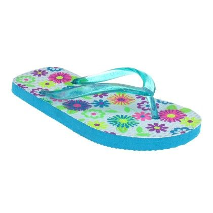 Turquoise Floral  Girls Fashion Flip Flops - Capelli New York
