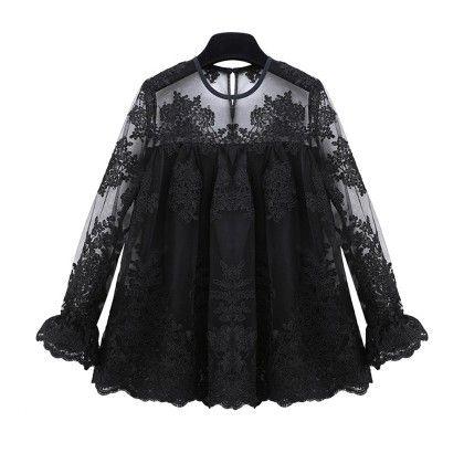 Organza Black Lace Embroidery Blusa Feminina Blouse - STUPA FASHION