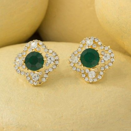 Fancy Stud Earrings With Austrian Diamond - Shriya