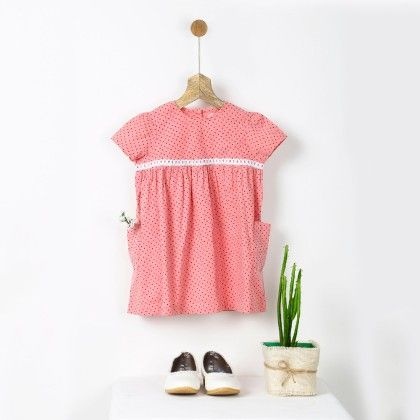 Pink Polka Dot Gathered Dress With Lace - Pluie