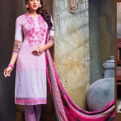 Pink Printed With Embroidery Dress Material - Afreen