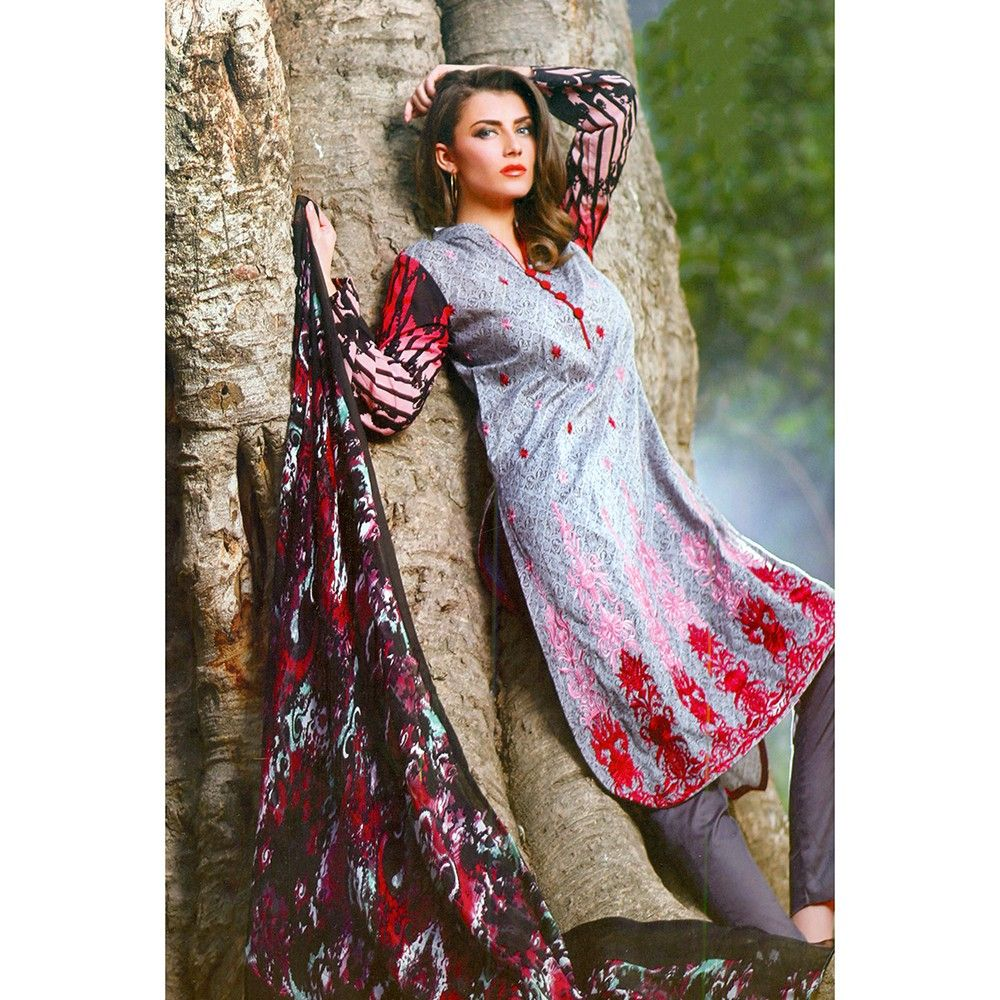 Gray Embroidered Semistitched Dress Material - Mauve Collection
