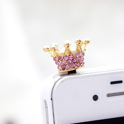 Crown Mobile Dust Plug Pink - Flaunt Chic