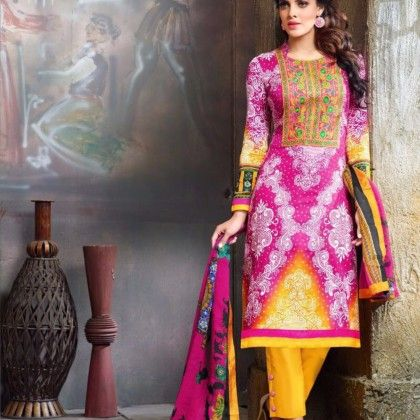 Pink & Yellow Cotton Printed With Embroidery Dress Material - Afreen