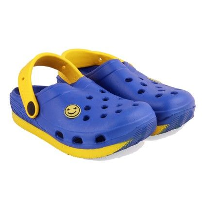Blue And Yellow Clogs With Back Strap - SMALLTOES