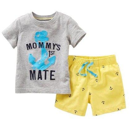 Anchor Print T-shirt And Shorts - 2 Pcs Set - Gray - Jumping Baby