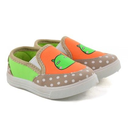 Brown And Orange Slip On Shoes With Cat Print - Willy Winkies
